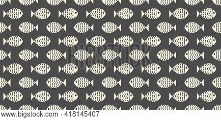 Nautical Seamless Pattern With Swimming Cartoon Fish