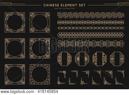 Chinese Vector Set Of Border, Frames, Patterns, Knots Isolated On Black Background. Asian Gold Eleme
