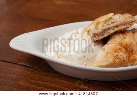 Fresh Baklava with Ice Cream