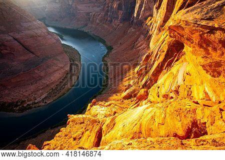 Arizona Horseshoe Bend Of Colorado River In Grand Canyon. Beautiful View On Horseshoe Place In Arizo