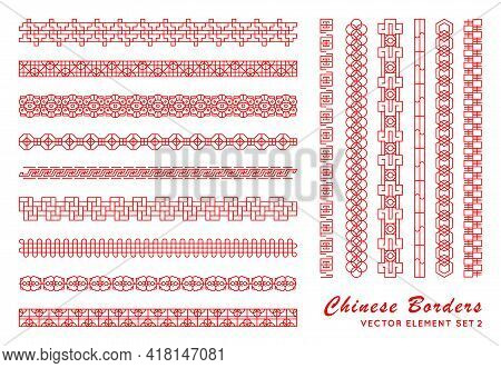 Asian Red Border Set In Vintage Style On White Background. Traditional Chinese Ornaments For Your De