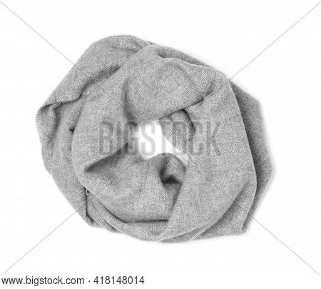 Stylish Grey Cashmere Scarf Isolated On White, Top View