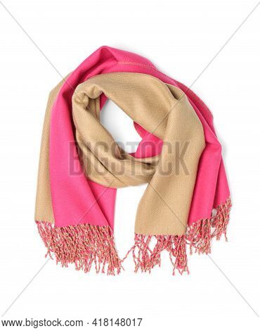 Stylish Colorful Cashmere Scarf Isolated On White, Top View