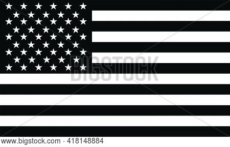 American Flag Vector Isolated On Transparent Background. 13 Stripes And 50 Stars In Black And White.