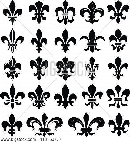 Fleur De Lys. Heraldry Lily Set. Vector Illustration