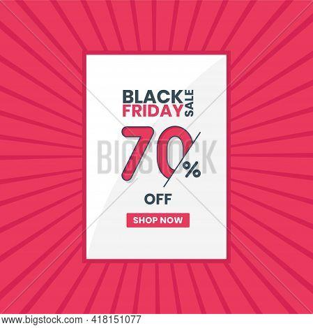 Black Friday Sales Banner 70% Off. Black Friday Promotion 70% Discount Offer