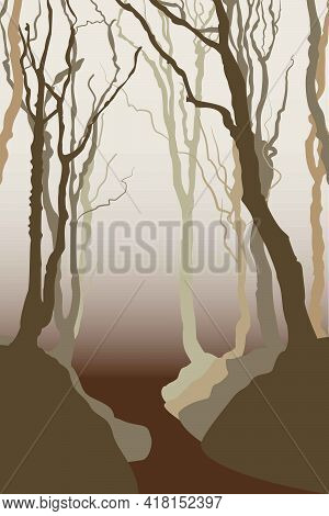 Monochrome Abstract Landscape With Waves And Trees. Autumn Forest. Gradient With Brown, Grey And Bei