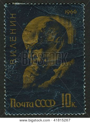 USSR - CIRCA 1966: Postage stamps printed in USSR dedicated to Vladimir Ilyich Lenin (1870-1924), Russian communist revolutionary, politician and political theorist, circa 1966.
