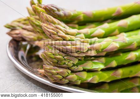Bunch Of Fresh Ripe Green Asparagus Vegetables Ready To Cook Or Grill