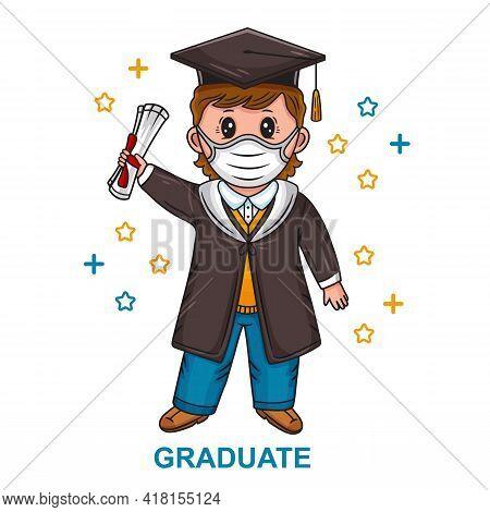 Graduation Ceremony 2021. Graduating Student Celebration Finish Study At University Or College. Happ