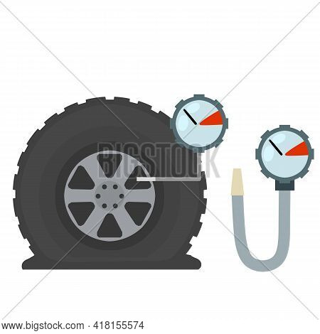 Measuring The Pressure In A Car Tire. Wheel Repairs. Service And Support. Flat Cartoon Illustration.