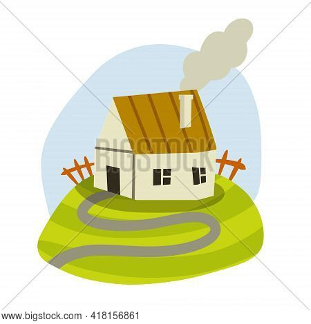 Village House. Rural Is White Building With Red Roof. Home On Green Hill And Road. Country Landscape