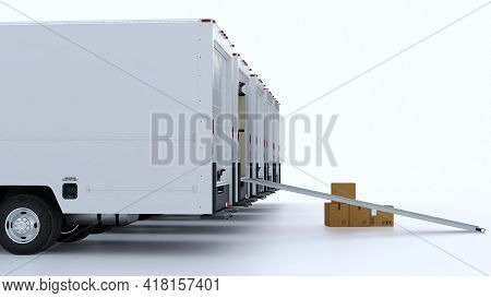 A Row Of White Vans On Isolated Background. Moving Boxes And Truck From The Back. Delivery And Shipp