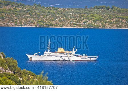 Kornati, Croatia, August 17 2019: Christina O Yacht In Kornati National Park, Dalmatia Archipelago O