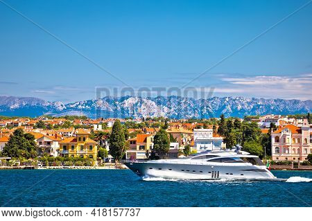 Zadar Waterfront And Speedboat Yacht View, Velebit Mountain Background, Dalmatia Archipelago Of Croa