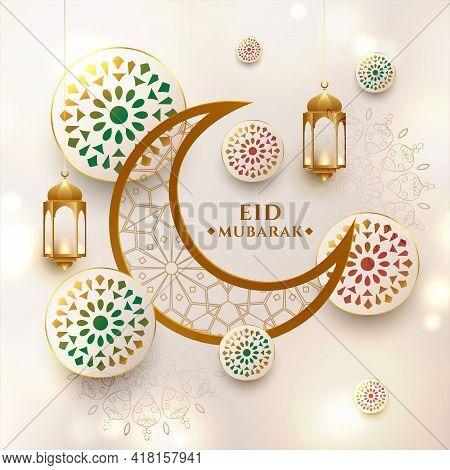 Crescent Moon Eid Mubarak Festival Greeting Design Vector Illustration