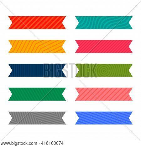 Colorful Adhesive Pattern Ribbon Or Tape Set Design Vector Illustration