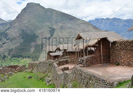 Inca Archeological Area Of Pisac, Peru. Pisac Is Located On The Long Crest Of A 3000m High Mountain