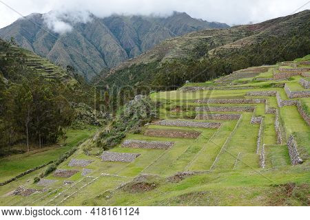 Chinchero, Sacred Valley Peru. Chinchero In The Sacred Valley Peru. Spanish Archetcture Built On Top
