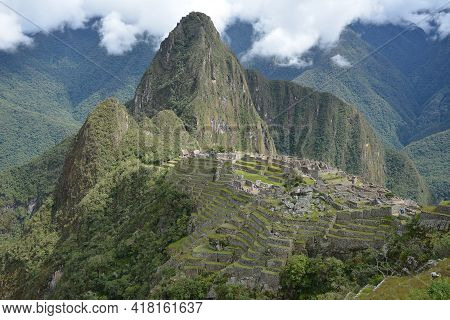 Machu Picchu  - The Lost City Of The Incas, Peru. View From Guardhouse. Mt Huayna Picchu (waynapicch