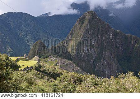 Machu Picchu - The Lost City Of The Incas, Peru. Machu Picchu, View From Road Of Incas. Mt Huayna Pi