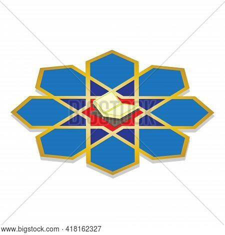 An Isometric Vector Of Quran And Islamic Geometric Star On White Background.  Use For Islamic Wich T