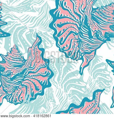 Colored Doodle Ocean Shells In Freehand Style Hand Drawn Sea Life Seamless Pattern. Amazing Inhabita