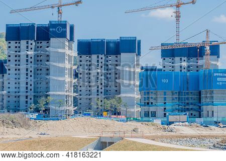 Daejeon, South Korea; April 18, 2021: Construction Site Where New Apartment Blocks Are Being Built.