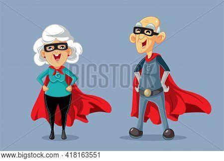 Superhero Grandparents Wearing Red Cape Vector Cartoon Illustration