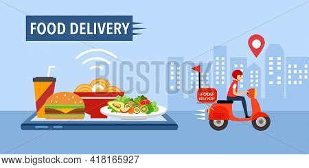 Online Food Delivery Service Vector. Fast Food, Grab Food, Uber Eat Design Template For Banner, Post