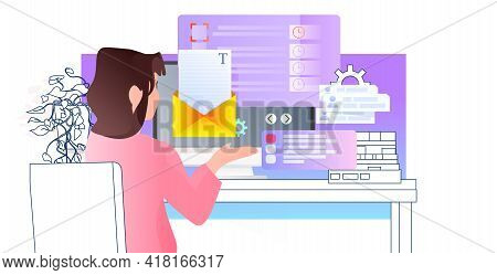 Businesswoman Reading Email Message Woman Copywriter At Workplace Online Communication Concept Horiz