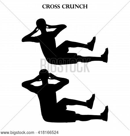 Cross Crunch Exercise Workout Vector Illustration Silhouette On The White Background. Vector Illustr
