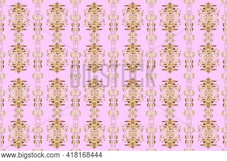 Golden Elements In Oriental Style Arabesques. Seamless Pattern On Beige, Neutral And Brown Colors. S