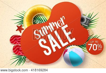 Summer Sale Vector Banner Design. Summer Sale Text With Up To 70% Off Beach Element Like Beach Ball,