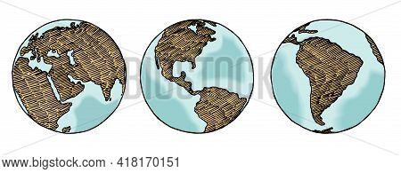 Globe Sketch. Hand Drawn Earth Planet With Continents And Oceans. Vector Color Vintage Engraving Ill