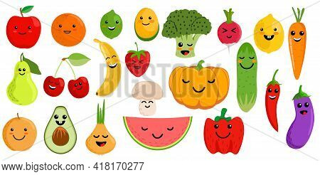 Cute Fruits And Vegetables. Kawaii Vegetable Fruit Character Cartoon Set. Clipart For Kids With Kawa