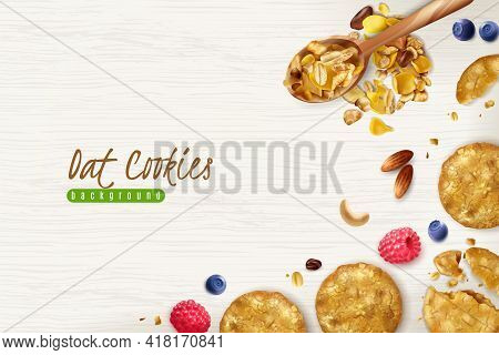 Oatmeal Cookies Realistic Background With Scattered Oat Flakes Grains And Fresh Berries Vector Illus