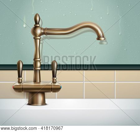 Faucet Realistic Composition With View Of Bathing Room Wall And Vintage Classic Style Bronze Faucet