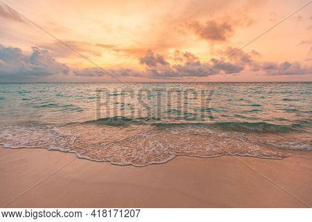 Closeup Of Sea Beach And Colorful Sunset Sky. Panoramic Beach Landscape. Empty Tropical Beach And Se