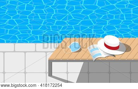 Swimming Pool Chaise Longue With A Book, A Hat And A Face Mask On It. Pandemic Summer Concept. Horiz