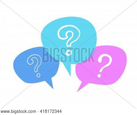 Doodle Speech Bubble. Question Mark Symbol, Communication And Forum Signs. Colorful Shapes With Inte