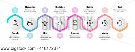 Timeline Infographic. Flowchart Sequence Design. Step Horizontal Diagram. Workflow Process Abstract