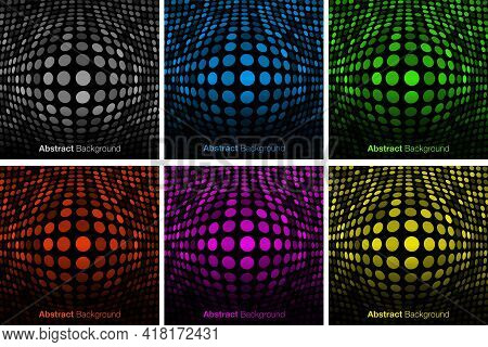 Abstract Colorful Technology Background Set. Bulgy Glow Backdrop. Convex Glowing Border. Vector Illu