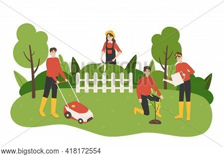 Work In Garden. Cartoon People Take Care Of Yard. Couple Planting And Watering Trees. Woman Trimming