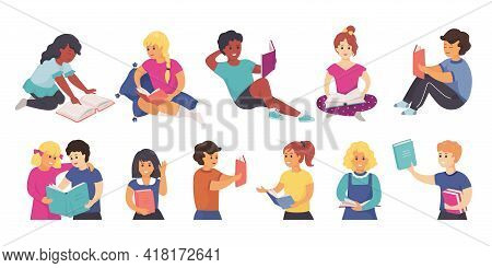 Reading Children. School Characters Standing And Sitting With Books. People Study Or Read Entertainm