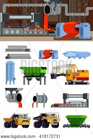 Steel Production Foundry Equipment Machinery For Ore Mining And Transportation Set Of Flat Icons Iso
