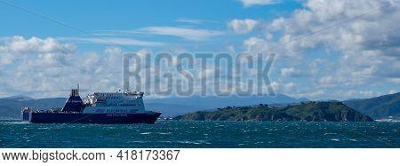 Wellington Harbour, New Zealand 25th April 2021. Bluebridge Ferry, New Zealand