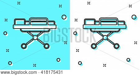 Black Line Stretcher Icon Isolated On Green And White Background. Patient Hospital Medical Stretcher