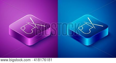 Isometric Knitting Needles Icon Isolated On Blue And Purple Background. Label For Hand Made, Knittin