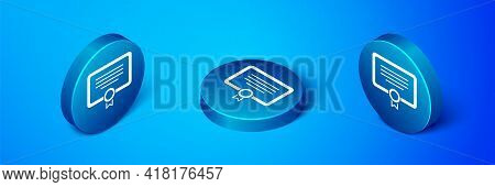 Isometric Certificate Template Icon Isolated On Blue Background. Achievement, Award, Degree, Grant,
